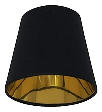 Schwarzer Stoff Lampenschirm Mit Kerzenclip Goldenes Futter