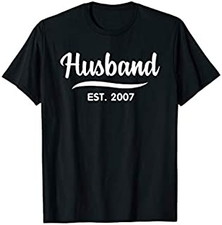 Mens Husband Est 2007  12th Wedding Anniversary for Husband T-shirt | Size S - 5XL