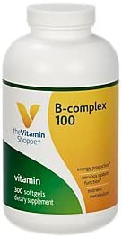BComplex 100 Supports Energy Production, Nervous System Function Nutrient Metabolism Excellent Source of B1, B2, B6, B12, Niacin, Folic Acid Biotin 300 Softgels by The Vitamin Shoppe