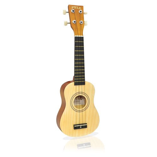 Pyle PUKT15NT Soprano Ukulele 21 inch Beginner Kit Includes Gig Bag Pick Pitch Pipe (Natural Light Wood Finish)