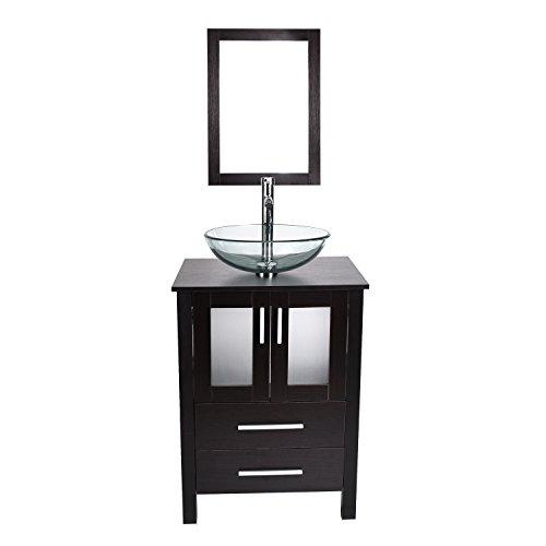 Espresso Modern Bathroom Vanity (24-Inch Modern Bathroom Vanity Lavatory Stand Cabinet Storage Wooden Black Espresso DIY (Basic) (Vanity Suite) (Vanity+Sink 1))