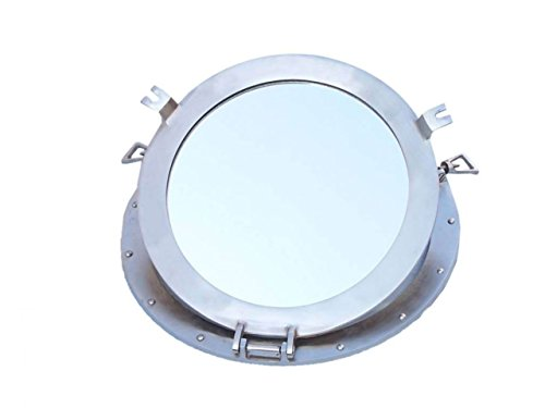 Hampton Nautical  Brushed Nickel Decorative Ship Porthole Nautical Mirror, 17