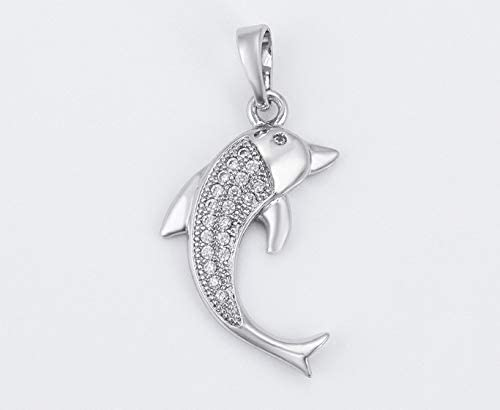 9ct White Gold Filled Dolphin CZ Cubic Zirconia Pendant AT Jewellery