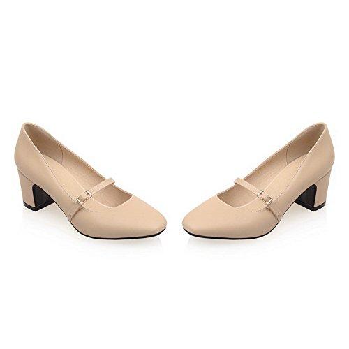VogueZone009 Femme PU Cuir Couleur Unie Boucle Carré à Talon Correct Chaussures Légeres Abricot em0cx6Fn