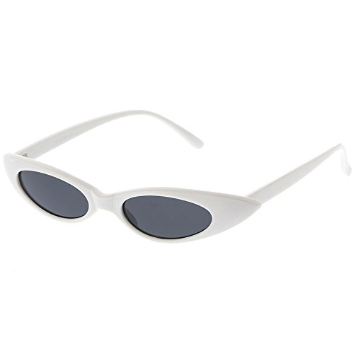 sunglassLA - Ultra Thin Extreme Oval Sunglasses Neutral Colored Oval Lens 47mm (White / - White Sunglasses Oval