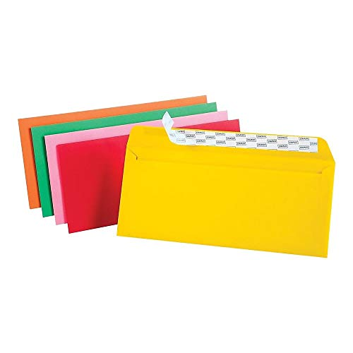 Staples EasyClose No. 10 Assorted Brights Colored Envelopes, 4-1/8-inches x 9-1/2-inches, Pack of 50