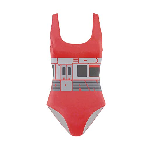 (Women's One Piece Sexy 3D Red Line Howard to Th and Dan Ryan Bikini Print Funny Swimsuits Bathing Suit)