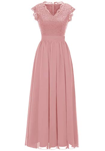 Dressystar 0050 V Neck Sleeveless Lace Bridesmaid Dress Wedding Party Gown M Blush