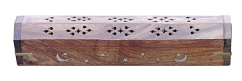 Best Value in Category Offers Portability, Safety, Storage : Best Way to Contain Ash and Avoid Messy Clean-Up : Moon & Star Nagchampa Brass Inlay Wooden Carved Coffin Box for Incense Sticks and (Incense Storage Box)
