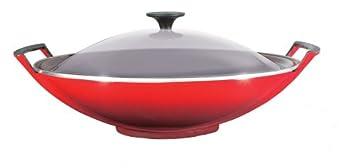 Le Creuset 25304360600460 - Wok de hierro colado esmaltado con tapa de cristal, 4,