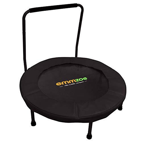 Emmzoe The Little Jumper 36 inch / 3 Feet Padded Kids Trampoline with Balance Handrail – Easy to Setup