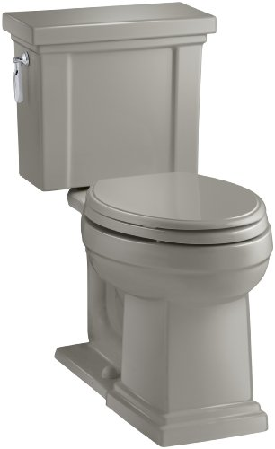KOHLER K-3950-K4 Tresham Comfort Height Two-Piece Elongated 1.28 GPF Toilet with AquaPiston Flush Technology and Left-Hand Trip Lever, Cashmere