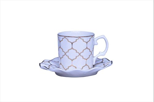 Chintz Patterns China (Porcelain Bone China Espresso Turkish Coffee Demitasse Set of 6 Delicate Pattern Cups + Saucers (Gold Geo))