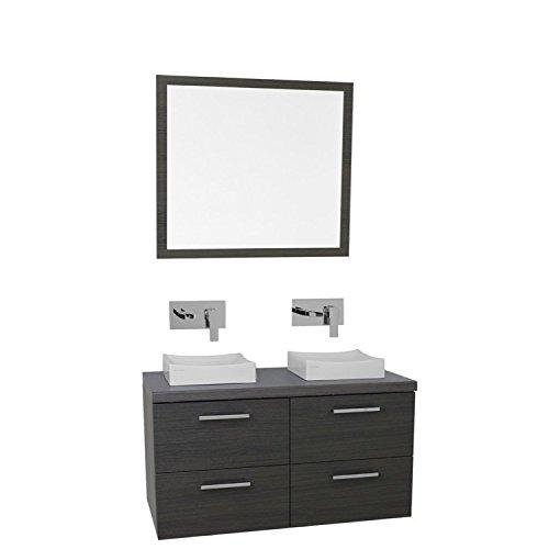 "Iotti Iotti AN403 Aurora Double Vessel Sink Bathroom Vanity Wall Mounted with Mirror Included, 37"", Grey Oak best"