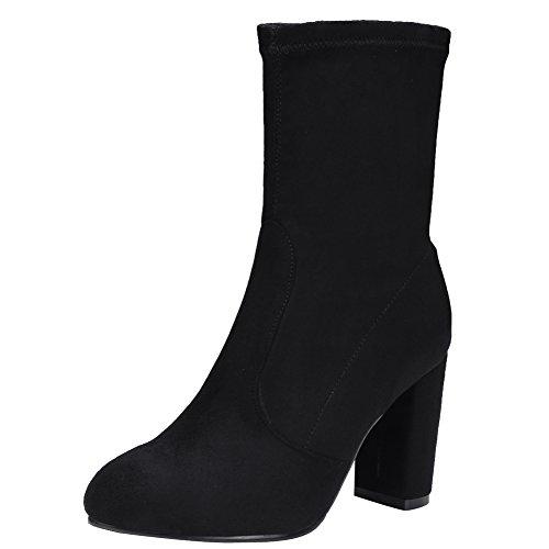 Latasa Dames Hoge Hak Korte Laarzen Zwart (faux Suede)