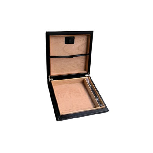 Black Leather Travel Humidor with External Digital Hygrometer - 20 cigars