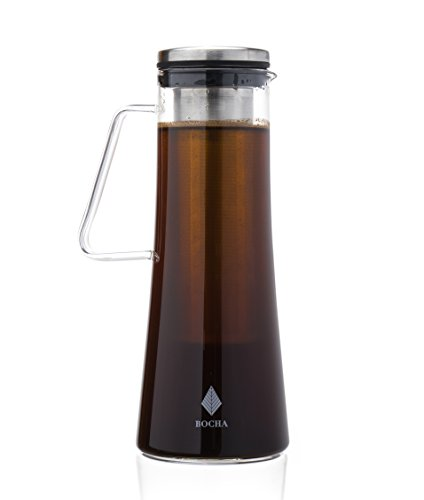 Cheap Cold Brew Iced Coffee Maker and Teapot Infuser – 1L Glass Pitcher Carafe with Removable Stainless Steel Infuser, Airtight Lid and FREE Cleaning Brush
