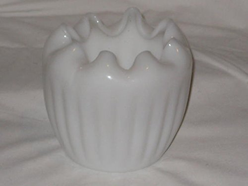 Vintage Milk Glass Crimped 4 1/2 x 4 1/2 Inch Glass Vase / -
