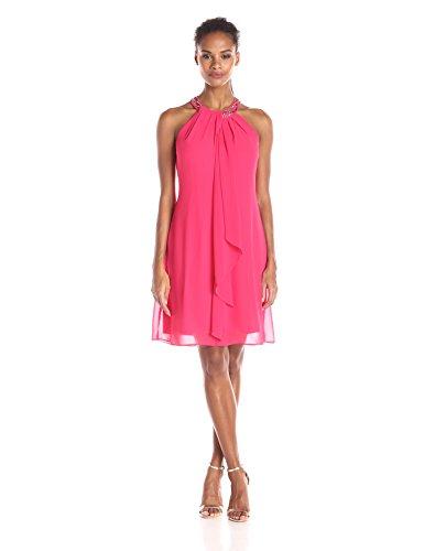 S.L. Fashions Women's Jewel Neck Sheath Dress, Cerise, 10