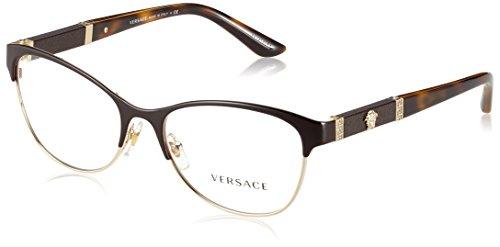 Versace VE1233Q Eyeglass Frames 1344-53 - 53mm Lens Diameter Brown/Pale Gold - Lens Versace