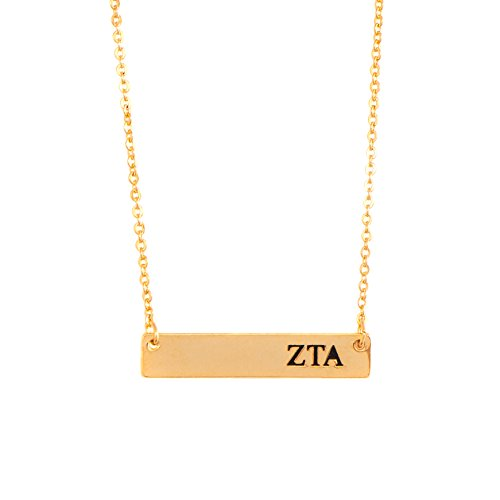 Zeta Tau Alpha ZTA 24K Gold Plated Horizontal Bar Necklace Greek Sorority Letter with Adjustable (Tau Greek Letter)