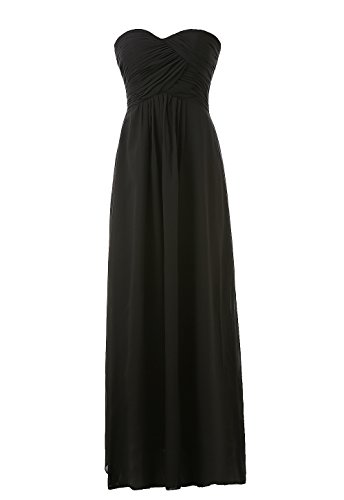 long black fitted strapless dress - 9
