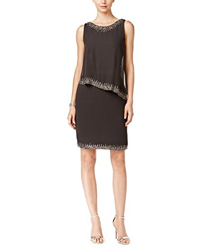 J Kara Beaded Trim Popover Dress