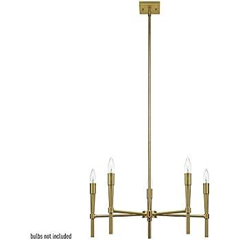 Globe Electric Elena 5-Light Chandelier, Brushed Brass Finish ...