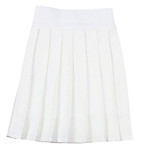 Women's High Waist Solid Plain Pleated School Uniform