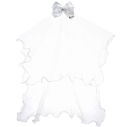 Girls' First Communion Veils Headband with Bow White Catholic Religious Embroidered Wedding Veil -