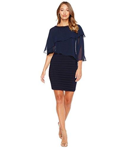構想する運命的な乳[アドリアナパペル] Adrianna Papell レディース Chiffon Cape Matte Jersey Sheath Dress ドレス Blue Moon 2 [並行輸入品]