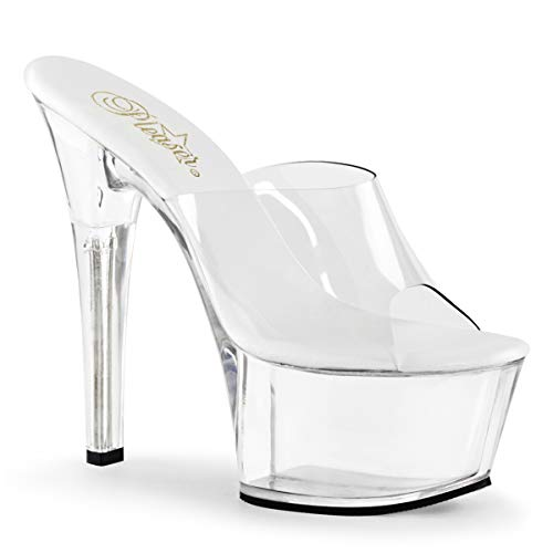 Pleaser Women's Asp601/c/m Platform Sandal, Clear, 11 M US (Platform Stripper)