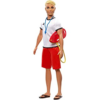 Ken Lifeguard Doll with Life Buoy, Whistle and Blonde Hair Wearing T-Shirt, Red Swim Trunks and Flip-Flops, Gift for 3 to 7 Year Old