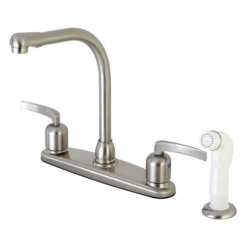 OKSLO Centurion fb718efl 8 centerset high-arch spout faucet with white abs spr model x182