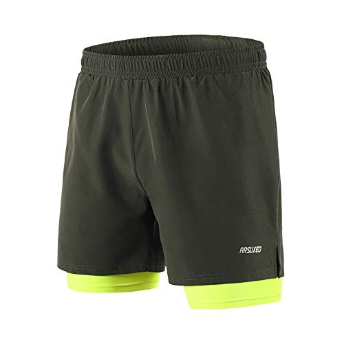 ARSUXEO Men's Workout Training 2 in 1 Running Shorts Reflective B192 Green Size X-Large
