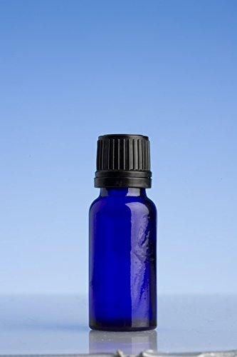 15 ml Azul Botellas de vidrio con cuentagotas negro precinto tapón para aceite esencial/aromaterapia