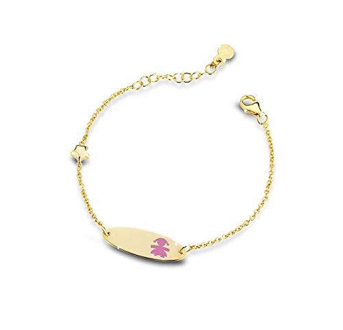 Bracelet-Les Clous en Émail Rose Etoile et Or Blanc Émaillé 9 Ct PMG016 12-14 cm