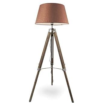 MOJO® Stehlampe Höhenverstellbar Stehleuchte Tripod Lampe Leselampe  Dreifuss (Schirm Braun, Beschläge Schwarz)