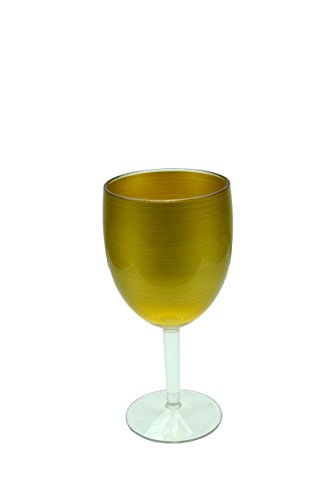 Waverly Avalon Series Indoor Outdoor Durable Plastic Food and Drink Serving Pieces Perfect All Year Round (15.20 Ounce Wine Glass Gold) -