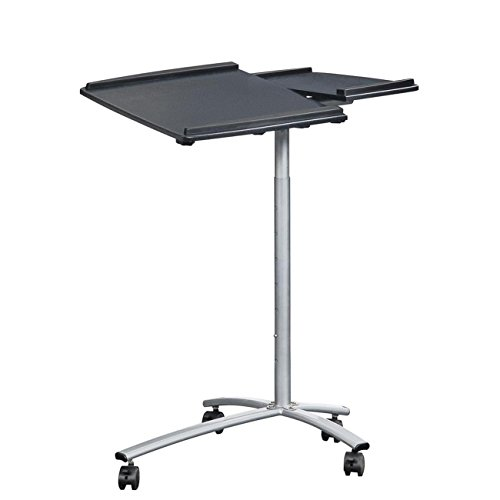 TECHNI MOBILI Sit-to-Stand Rolling Adjustable Laptop Cart - Graphite