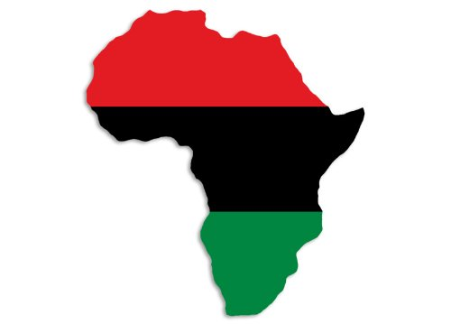 AFRICA SHAPED Pan African Flag Sticker (black history (Africa Bumper)