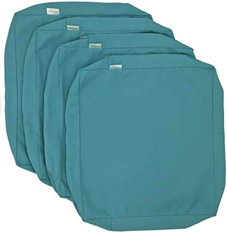 CozyLounge Serenity Teal Outdoor Water Repellent Patio Chair Cushion Seat Pillow Covers 24″x24″x5″ 4 Cover