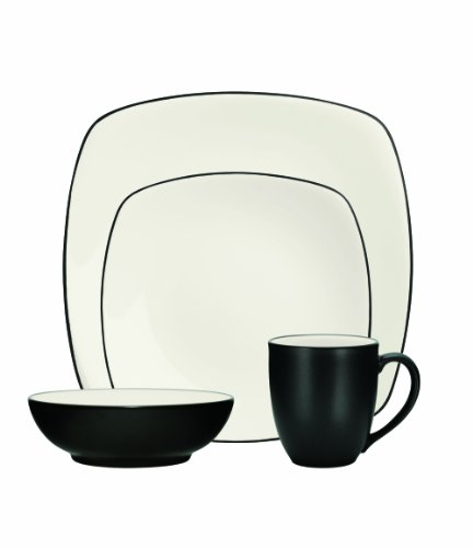 Noritake 4-Piece Colorwave Square Place Setting, - Square Graphite Noritake Colorwave
