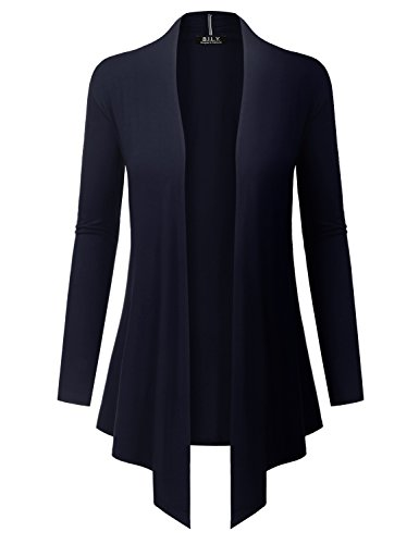 BH B.I.L.Y USA Women's Open Front Drape Hem Lightweight Cardigan with Pockets Navy XXX-Large