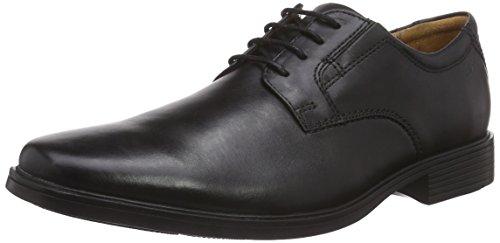 Herren Leather Black Clarks Derby Plain Tilden Schwarz Schnürhalbschuhe fag07gn