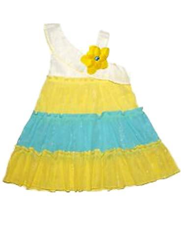Youngland Infant Girls White Yellow & Blue Sundress Tiered Sleeveless Summer Dress 12M