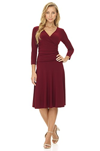 Rekucci Women's Slimming 3/4 Sleeve Fit-and-Flare Crossover Tummy Control Dress Burgundy