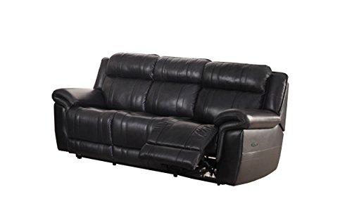 Milton Greens Stars Aracadia Top Grain Leather Powered Sofa, black