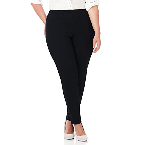 Symbidium Women's Plus-Size Easy Fit Elastic Waist Pull-on Essential Comfortable Twill Pant Black 2X (Black Twill Jeans)