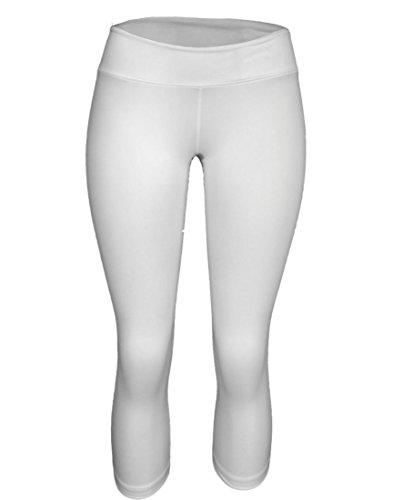 White Yoga Pants (Yoga Capri - Fitness Capri - Yoga, Running, WOD, General Fitness (X-Small,)